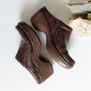 Ariat Brown paisley print  leather slip on clogs 8